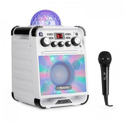 OKAZJA - Rockstar LED zestaw do karaoke odtwarzacz CD Bluetooth USBbiały