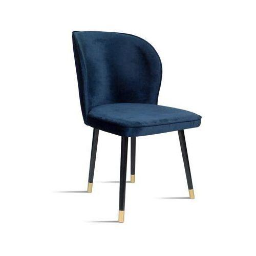 Krzesło RINO granatowy/ noga czarny gold/ SO263, kolor niebieski