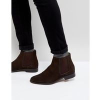 Walk london harrington suede chelsea boots in brown - brown