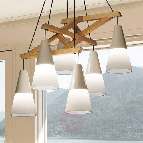 Viokef Wyrafinowana lampa wisząca lucas ze szkła i drewna