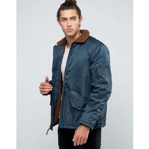 Brixton Colstrip Bomber Jacket With Sherpa Lining - Navy