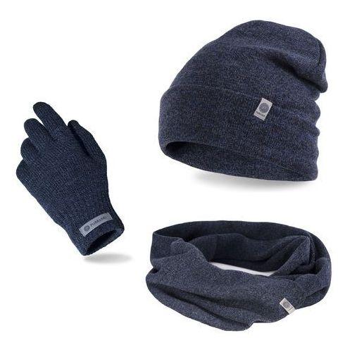 Pamami Komplet męski - czapka, szalik, rękawiczki - granatowa mulina (5902934068659)