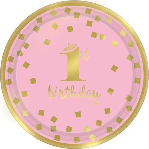 8 Talerze z okazji 1 urodzin różowo-złote, 18cm