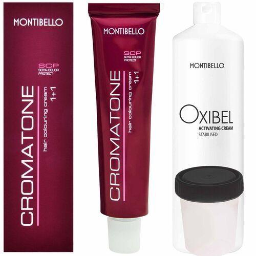 Montibello Cromatone zestaw do koloryzacji włosów farba 60ml + oxydant 60ml 1 czarny OXIBEL 12,5 VOL 3,75%