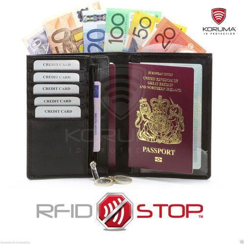 ✅ portfel podróżny ochrona karty zbliżeniowe paszport rfid (czarny) - czarny mat marki Koruma®