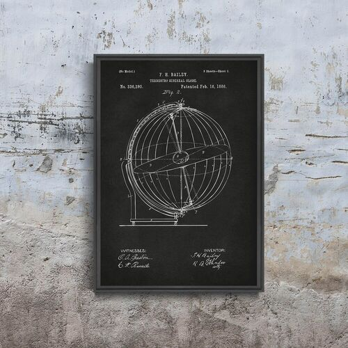 Vintageposteria.pl Retro plakat retro plakat terrestro sidereal globe patent grey nikki marie smith