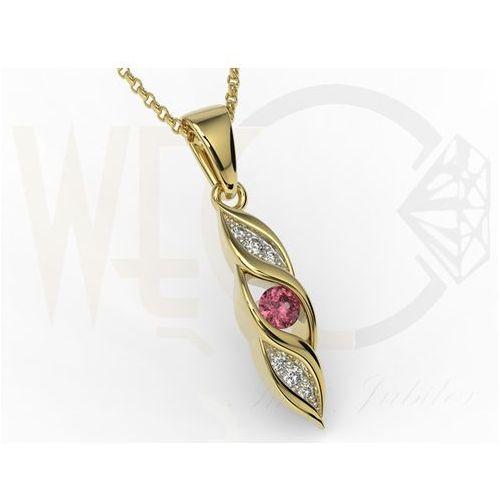 Wisiorek z żółtego złota z rubinem i diamentami APW-51Z-R - rubin i diamenty, kolor czerwony