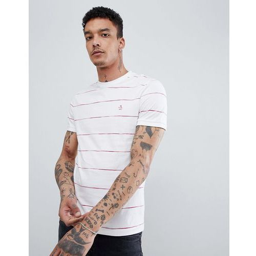Original Penguin Space Dye Stripe T-Shirt Slim Fit Embroidered Logo in White - White