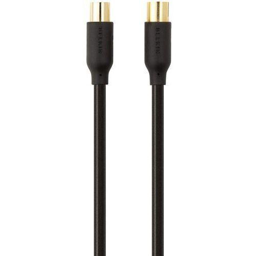 Kabel Anteny, SAT, Belkin F3Y057bf2M F3Y057bf2M, [1x złącze męskie antenowe 75 Ω - 1x złącze żeńskie antenowe 75 Ω], 90 dB, 2 m, pozłacane styki, czarny