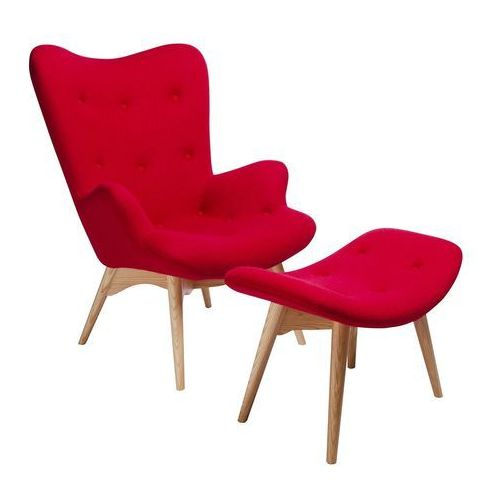 Fotel CONTOUR z podnóżkiem - czerwony, tkanina, nogi jesion