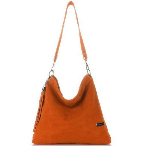 aef83927a56eb Uniwersalne Torebki Skórzane Listonoszki XL marki Vittoria Gotti Ciemno  Pomarańczowe (kolory), kolor pomarańczowy