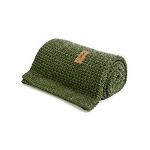 Kocyk tkany - Organic & Color ( kolor: zielony/oliwkowy) - 80x110 cm - Poofi, PF 332
