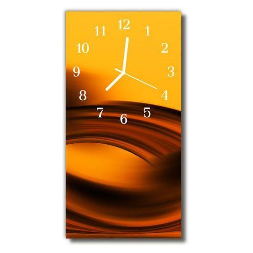 Tulup.pl Zegar szklany pionowy sztuka fale abstrakcja pomarańczowy