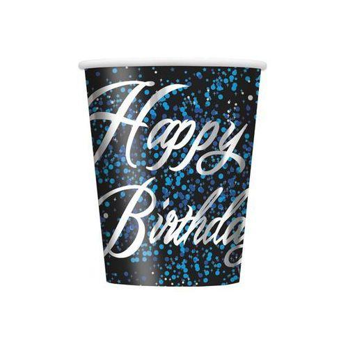 Unique Kubeczki błyszczące happy birthday niebieskie - 266 ml - 8 szt. (0011179574667)