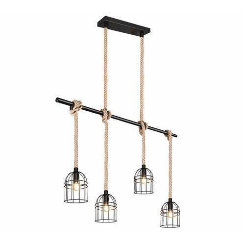 Trio RL Wodan R30444032 lampa wisząca zwis 4x10W E14 czarna/brązowa, kolor Czarny
