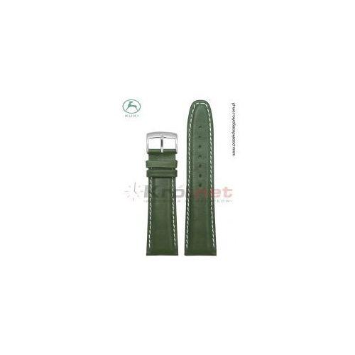 Pasek do zegarka Kuki 0308.ZIE/B/24 - zielony, gładki, jasne nici.