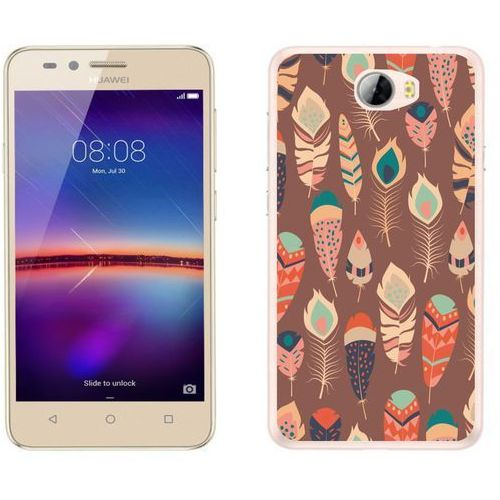 Huawei Y5 II - etui na telefon - Kolekcja boho - piórka na brązowym tle - J17