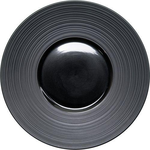 Talerz płytki dekorowany porcelanowy czarny
