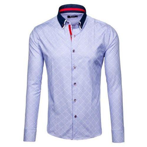 Błękitna koszula męska we wzory z długim rękawem Bolf 6931 - BŁĘKITNY, kolor niebieski