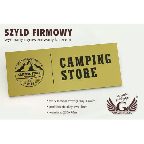 Szyld firmowy - złoty laminat grawerski mat exterior - sz088 - wym. 275x90mm marki Grawernia.pl - grawerowanie i wycinanie laserem
