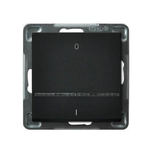 Łącznik dwubiegunowy Ospel Sonata ŁP-11RS/M/33 z podświetleniem niebieskim czarny metalik (5907577446222)