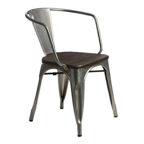 Krzesło Paris Arms Wood metal sosna szcz otkowana, kolor szary