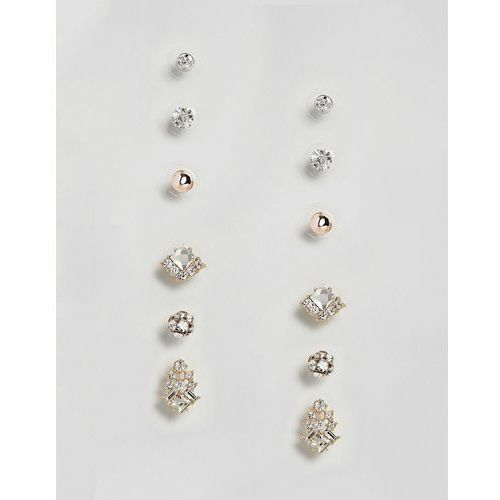 True Decadence Gold Embellished Stud Multi Pack of Six (+) - Gold