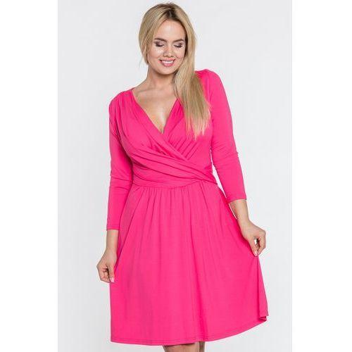 Malinowa sukienka z kopertowym dekoltem - Tova, 1 rozmiar