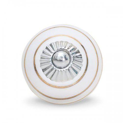Gałka do mebli Pierścienie biało-złote (duża), PIE_51