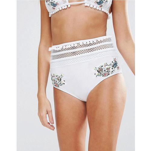 Asos premium pom pom embroidered fishnet high waist bikini bottom - white