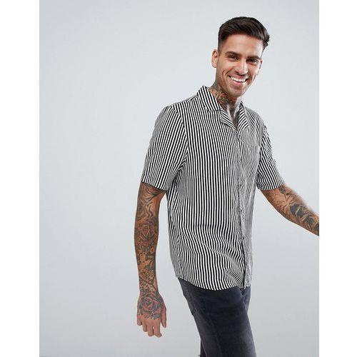 monochrome stripe short sleeve shirt - black marki Another influence