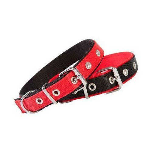 Dingo Obroża taśma polipropylenowa podwójnie zszywana 2,5cm/50cm czerwono-czarna