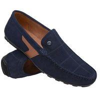 Mokasyny KRISBUT 5185-1-9 Granatowe męskie wsuwane - Granatowy, kolor niebieski