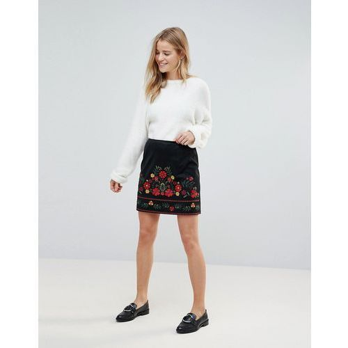 embroidered faux suede mini skirt - black, New look