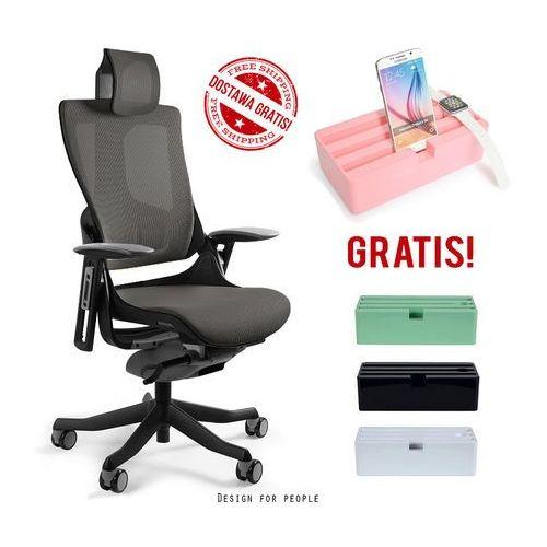 Fotel WAU 2 czarny/grafit siatki + stacja dokująca D-DOCK GRATIS! - BLACK FRIDAY!