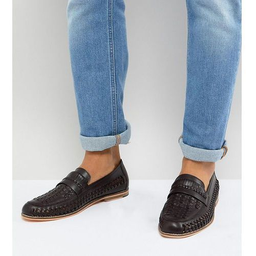 wide fit woven loafers in brown leather - brown, Frank wright