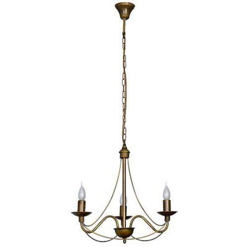 Lampa zwis żyrandol świecznikowy Aldex Róża I 3x40W E14 stare złoto 397E26
