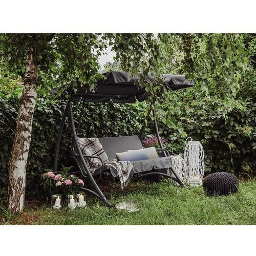 Huśtawka ciemnoszara - meble ogrodowe - stal - ławka - temple marki Beliani