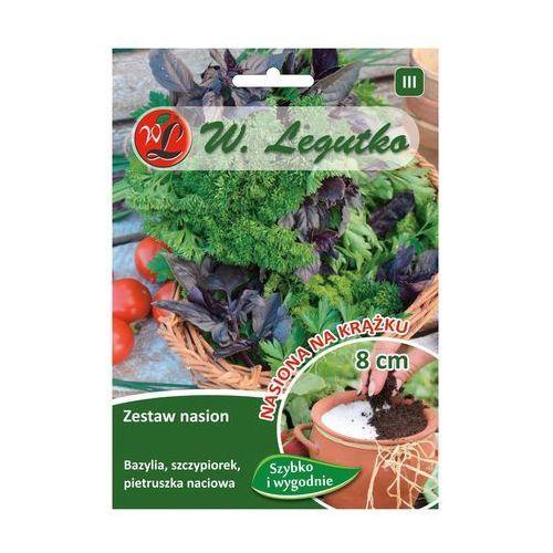 Zestaw nasion bazylia, szczypiorek, pietruszka naciowa na krążku 3 szt. 8cm marki Legutko