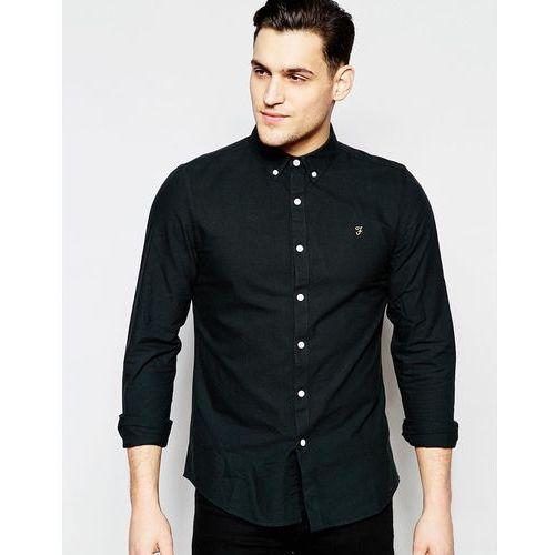Farah Brewer Oxford Shirt Slim Fit Buttondown in Black - Black, kolor czarny