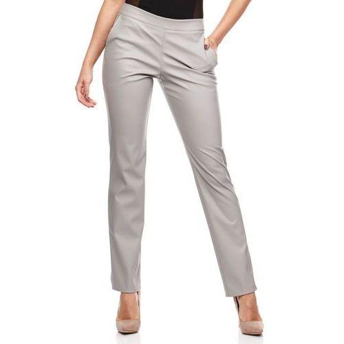 Szare Eleganckie Spodnie Rurki z Eko-skóry, ekoskóra