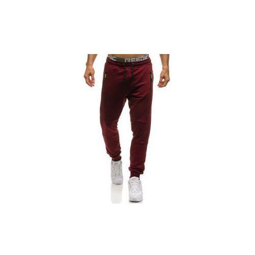 Spodnie męskie dresowe joggery bordowe Denley 1607, kolor czerwony