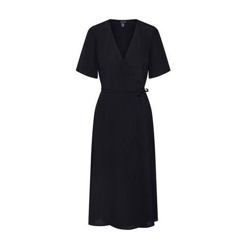 NEW LOOK Letnia sukienka 'F PLAIN WRAP MIDI DRS' czarny, w 5 rozmiarach