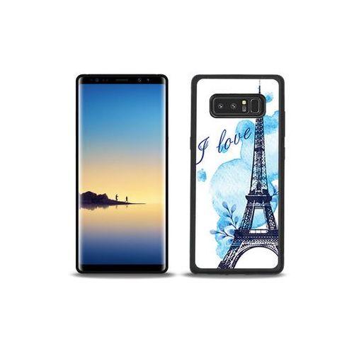 Samsung Galaxy Note 8 - etui na telefon Aluminum Fantastic - niebieska wieża eiffla
