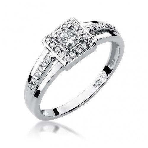 Saxo Biżuteria 14k pierścionek z brylantami 0,29ct w-271 białe złoto
