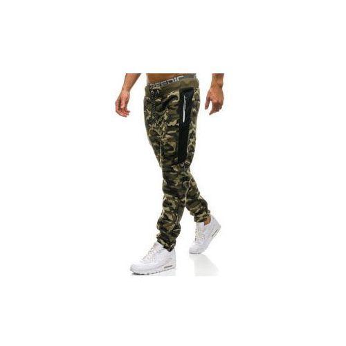 Spodnie męskie dresowe joggery moro-zielone Denley QN271, dresowe