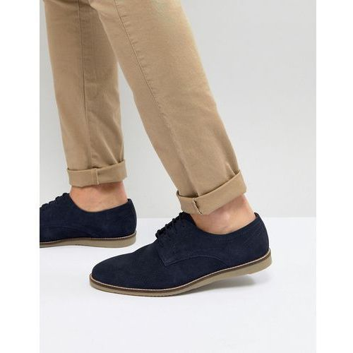 Frank Wright Lace Up Shoes In Navy Suede - Navy