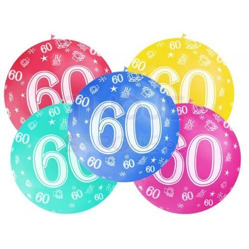 BALON LATEKSOWY 60th BIRTHDAY 100cm 1szt, #A526^p