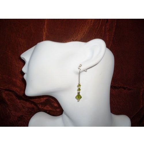 K-00014 Kolczyki z kryształkami Swarovski - oliwkowe, kolor zielony