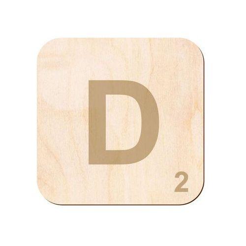 Drewniana dekoracja na ścianę scrabble - literka D